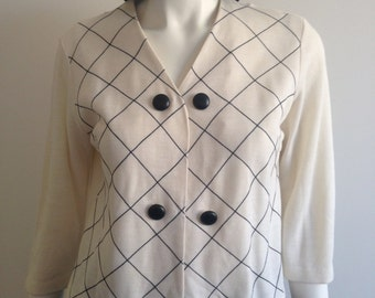 60's 50's Black & White Cardigan / Mod Top Size 10 - 12