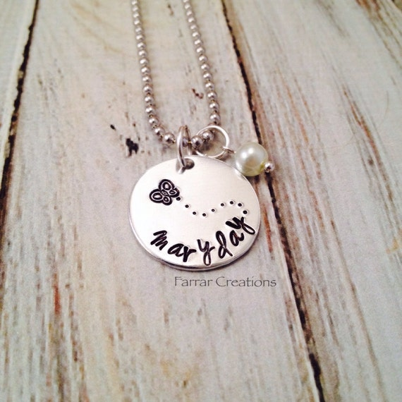 sted childs name necklace butterfly pearl necklace