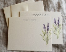 Lavender Personalized Notecards Or Thank You Notecards Note Cards With Envelopes