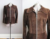 1970s Vintage Leather Jacket Brown Suede Coat Large Zipper / Large