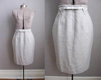 1980s Grey Wool Pencil Skirt Geometric Triangle Belt Loops Wiggle Skirt / Medium