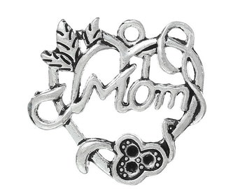 "5 Pieces Antique Silver ""Mom"" Carved Hollow Heart Charms"