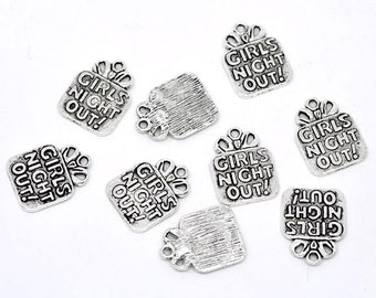 "10 Pieces Antique Silver ""Girls Night Out"" Charms"