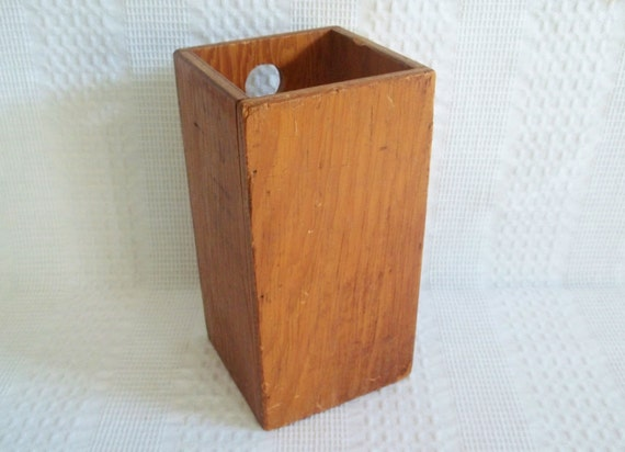 Rustic Wood Box Wall Hung Hanging Utensil Holder By