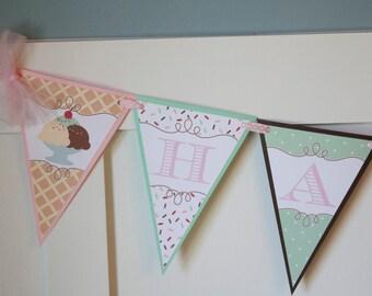Ice Cream Birthday Banner, Ice Cream and Sprinkles Sweet Birthday Party