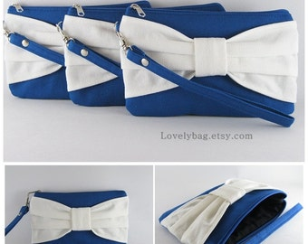 SUPER SALE - Set of 5 Royal Blue with Ivory Bow Clutch - Bridal Clutches, Bridesmaid Clutch, Bridesmaid Wristlet,Wedding Gift- Made To Order