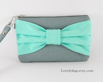 SUPER SALE - Gray with Mint Bow Clutch - iPhone 5 Wallet, iPhone 5 Wristlet, Cell Phone Wristlet, Camera Bag,Zipper Pouch - Made To Order