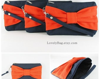 SUPER SALE - Set of 5 Navy with Orange Bow Clutches - Bridal Clutches, Bridesmaid Wristlet, Wedding Gift, Zipper Pouch - Made To Order