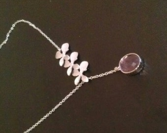 bridesmaid gift,Orchid Necklace,Flower Necklace,Orchid Jewelry,Cascading flower necklace,sterling silver bridesmaid jewelry