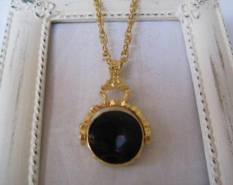 Vintage Black Swivel Pendant Necklace
