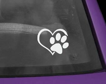 Paw in Heart Vinyl Sticker