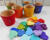 21 Hearts in Buckets wood montessori color sorting and matching game