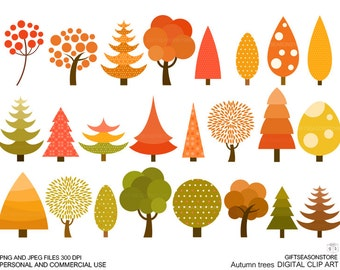 Autumn tree clip art for Personal and Commercial use - INSTANT DOWNLOAD