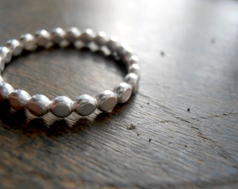Hammered Dots Sterling Silver Band Ring  - Made to Order Any Size 4, 5, 6, 7, 8, 9,10 +