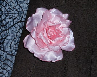 Satin pink rose flower brooch, hair clip