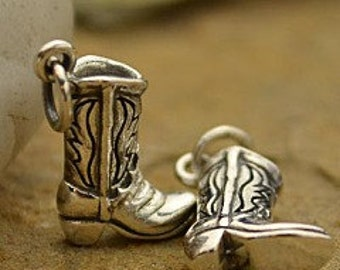 Cowboy Boot Sterling Silver Charm, Cowboy Boot Charm