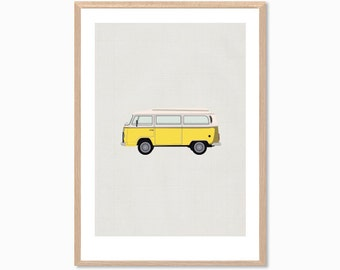 RETRO | Yellow Combi Van Poster : Modern Illustration Retro Art Wall Decor Print