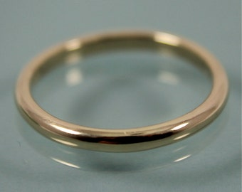 Traditional Classic 14k Gold 2mm Half Round Wedding Band Stacking Ring Eco Friendly Recycled Gold Shiny Finish