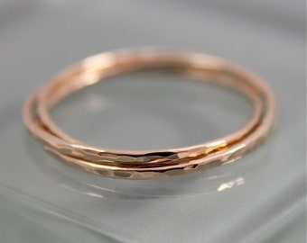 14k Solid Gold Rolling Ring Russian Wedding Band Infinity Puzzle Ring 3 Thin Hammered Bands Ring Faceted Shiny Finish