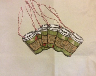 handmade Coffee to go cup Christmas gift tags w/ bakers twine set of 6