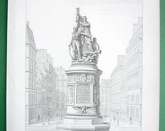 ARCHITECTURE: France Paris Place de Clichy Monument to Marshall Moncey   - (Two) 1872 Antique Prints Originals