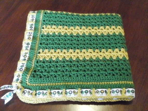 CLEARANCE Crochet Baby Blanket John Deere Inspired Tractor