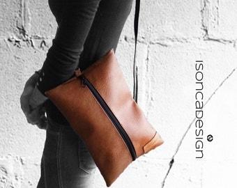 Handbag Clutch Shoulder Bag Shoulder Bag Cognac Brown or black Leatherette