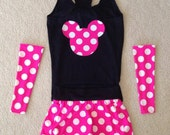 READY TO SHIP Hot Pink polkadot running costume with sleeves