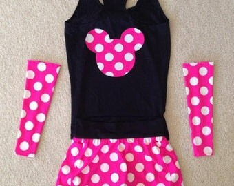 Hot Pink polkadot running costume with sleeves