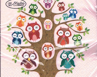 SALE Owls - art napkin Decoupage owl tree pink SALE