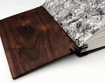 Walnut wooden journal, wood covered art book, wood book of shadows / wedding guest book