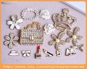 1Set Mix Bling Crystal rhinestones golden handbag crown Flowers alloy Jewelry For DIY phone case deco