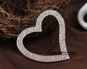1PCS Bling crystal Silver Heart  Flatback Alloy jewelry Accessories materials supplies
