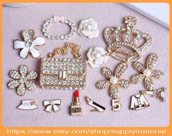 1Set Mix Bling Crystal rhinestones golden handbag crown Flowers alloy Jewelry For DIY phone case deco