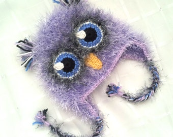 Cute Fluffy Furry Fuzzy Crochet Purple, Blue, and Yellow Owl Baby Girl Hat