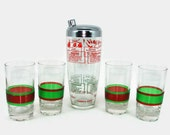 Red and Green Cocktail Set, Sports Themed Cocktail Shaker, 4 Banded Glasses, Holiday Barware, Federal Tumblers