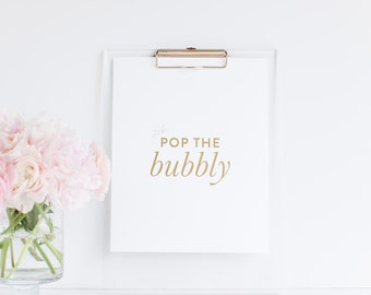 Pop the Bubbly 8x10 Gold Foil Bar Cart Print