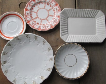 Vintage DIshes Plate Collection of 5 Gold White and Orange