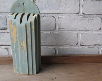 Vintage Knife Holder Nuway Vintage Kitchen Decor Cottage Chic Chippy Paint