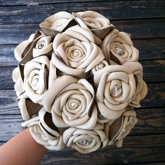 Bouquet, Leather Flower Bridal Bouquet
