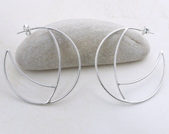 Large earrings hoop, Geometric silver earrings hoop, Geometric jewelry