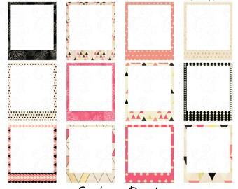 Geometric Frames Clip Art Pink and Black