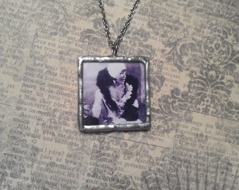 Two Sided Soldered Glass Pendant with Retro Vintage Pin Up Photo on Silver Necklace