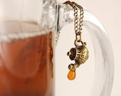 Tea Lovers Necklace - Tiny Bronze Teapot Pouring A Drop Of Tea