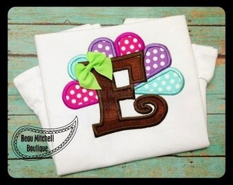 Boy or Girl Turkey Letter  Applique Shirt for Thanksgiving/ Holiday/ Fall