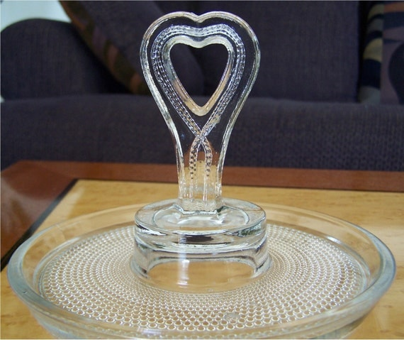 Items similar to antique candy dish valentine 39 s day ring for Heart shaped jewelry dish