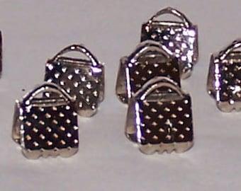 Silvertone end crimps 6 x 6 mm