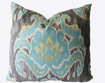 Decorative Designer Ikat Blue Aqua, Gray, Suzani, 18x18, 20x20, 22x22 or Lumbar Throw Pillow