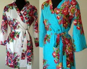 Set of 6 Bridesmaids Robes - Kimono Crossover Robe, Personalised bridemaids Gift for shower party, Bridal shower favors