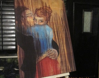 Lovers Hug- Mixed Media Gallery Wrapped  Wall Art